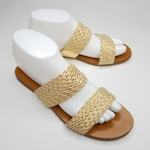 Vince Camuto Gold Slip On Sandals 8.5
